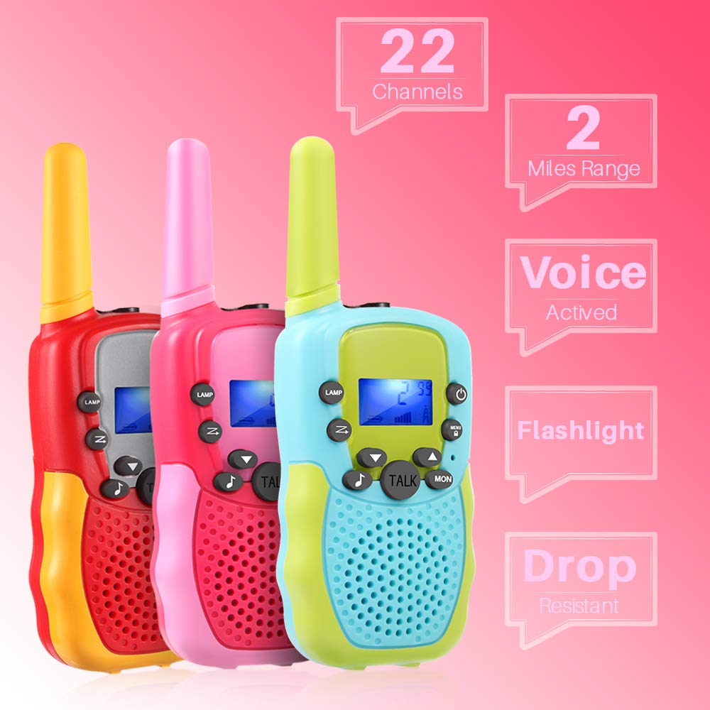 OMWay 3 Pack Kids Walkie Talkies, Toys for Girls 3-12 Year Old,Best Birthday Gifts for Kids. by OMWay (Image #2)
