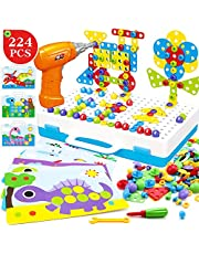 ZMZS Kids Electric Drill and Screw Set STEM Building Puzzle Mosaic Pegboard 224 Pcs Trendy 3D Construction Toys Educational Gifts for 3 4 5 6 7 8 9 10 Year olds Kids Boys Girls