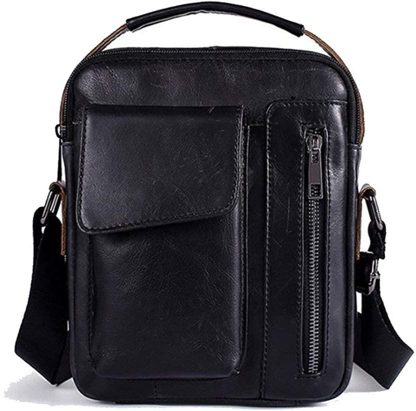 Douhuayu Retro Casual one Shoulder Slung Leather Mens Bag Color : Black, Size : 18624 cm