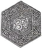 Om Hexagon Metal Incense Burner 4 inch & Altar Tile