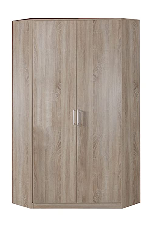 Armario esquinero con efecto de roble, 2 puertas, 8 estantes ...