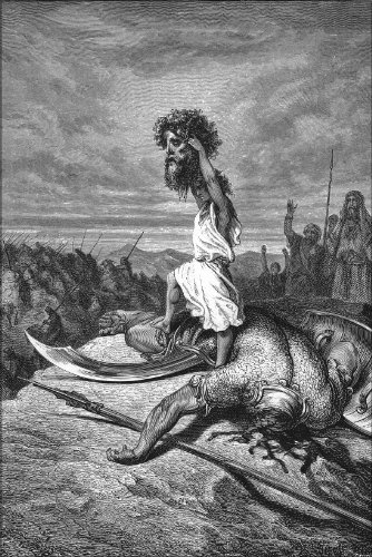 Poster - David Slays Goliath From Gustave Dore English Bible 1866