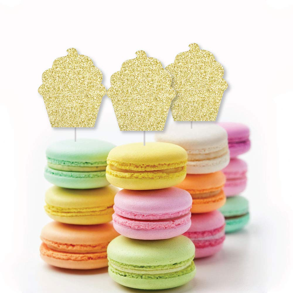 Bakery Birthday Party or Baby Shower Clear Treat Picks No-Mess Real Gold Glitter Dessert Cupcake Toppers Gold Glitter Cupcake Set of 24