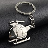 yushangtong-au Cuddly Keychain Fashion Accessories Helicopter Pendant Metal Keyring Purse Hand Bag Car Charm Keychain Gift (Silver)