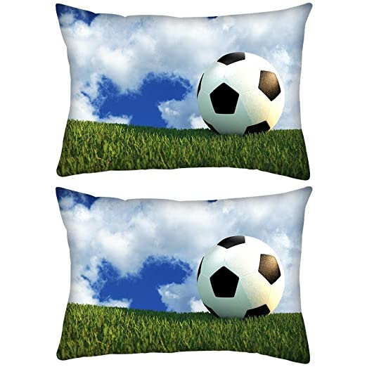 Pack de 2 campo de fútbol Rectángulo Toss Throw Pillow Cojín ...