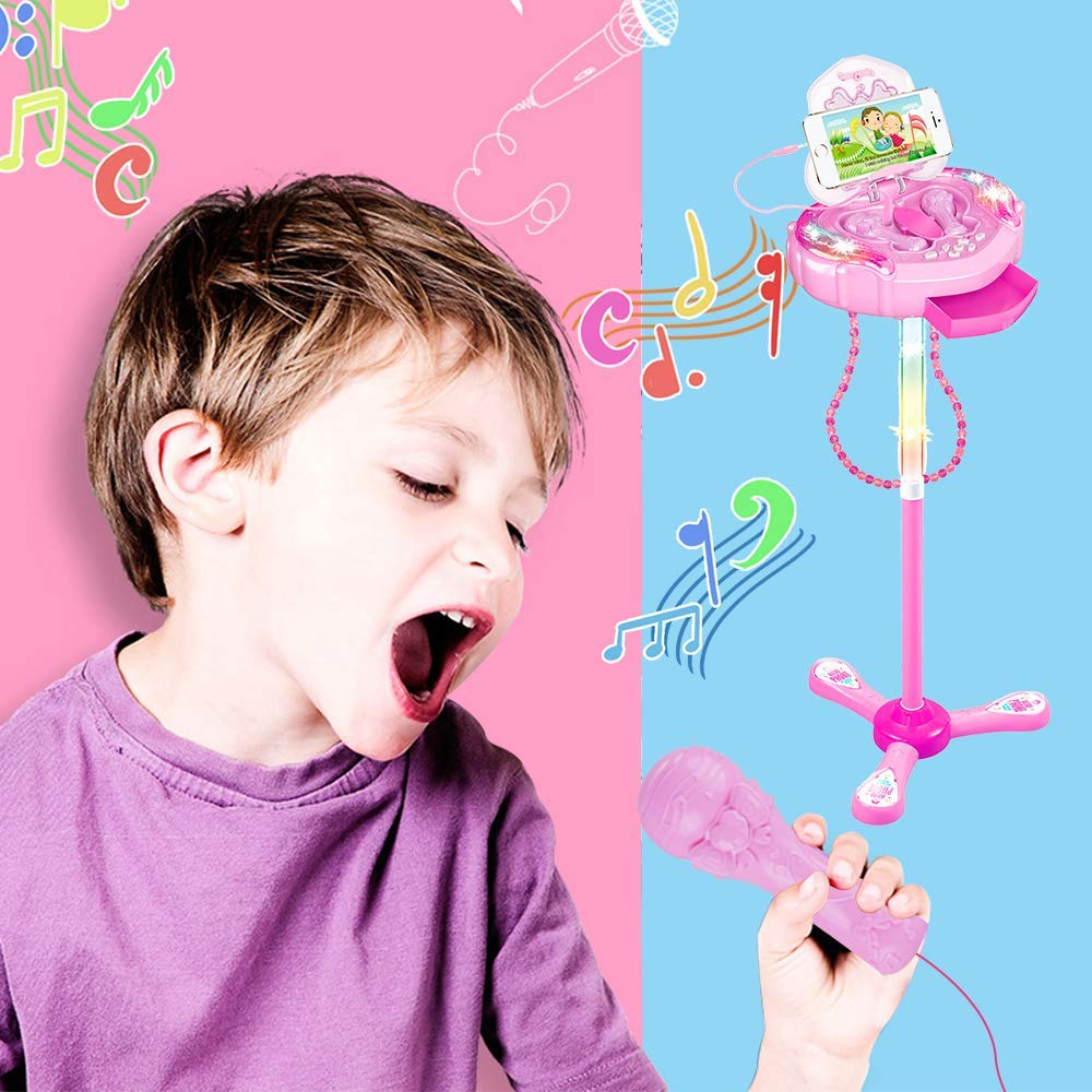 Kids Karaoke Machine, Portable Kid Microphone Toys with Adjustable Stand & Flashing Lights, Kid Gifts for 3-6 Year Old Girls by GHDE& (Image #5)