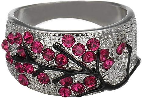 Temperament Ladies/' Crystal Rhinestone Pink Flower Charm Rings Exquisite Gift US