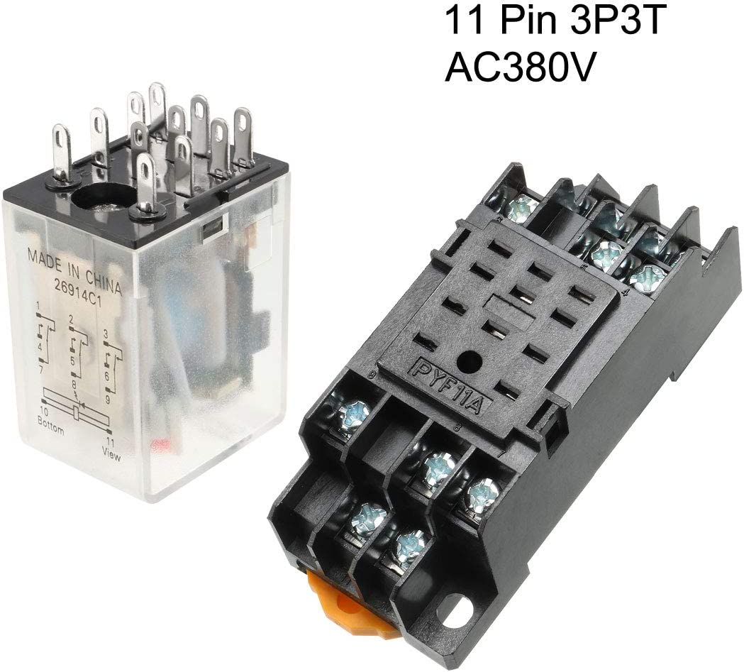 uxcell DC48V Coil Green Indicator Light 11 Pin 3P3T Electromagnetic General Purpose Power Relay Socket Base