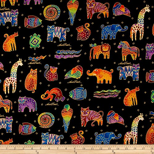Laurel Burch Mythical Jungle Metallic Animals Directional Black Metallic Fabric By The Yard