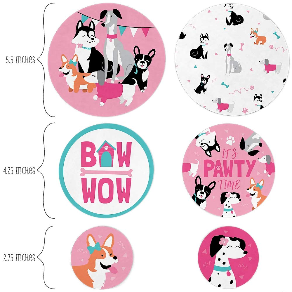 Pink Dog Baby Shower or Birthday Party Giant Circle Confetti Party Decorations Big Dot of Happiness Pawty Like a Puppy Girl Large Confetti 27 Count
