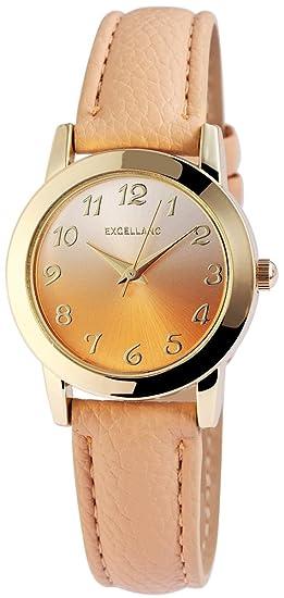 Reloj mujer oro beige plata números arábigos cuero reloj de pulsera: Amazon.es: Relojes