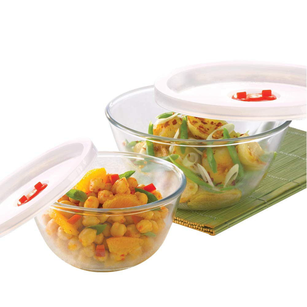 Basics Glass Mixing Bowl with lid - Set of 2