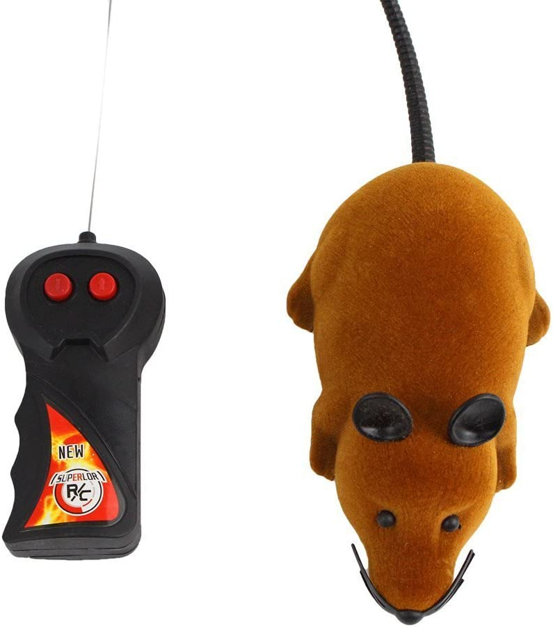 Yosoo - Mini ratón RC Rat de 2 vías 27 MHz con mando a distancia para gatos, animales y niños, color marrón
