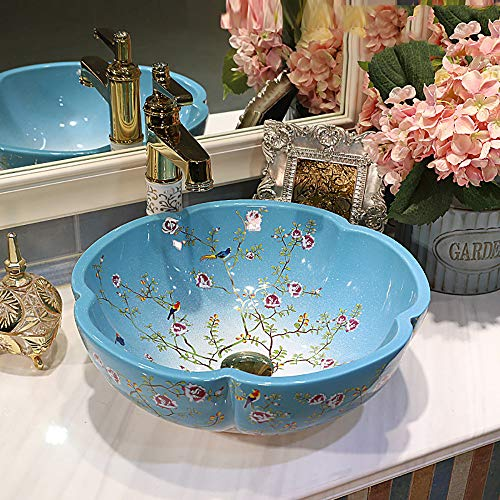 QJJML Jingdezhen Ceramic Petal Wash Basin, European Modern Bathroom Art Wash Basin Washbasin,E