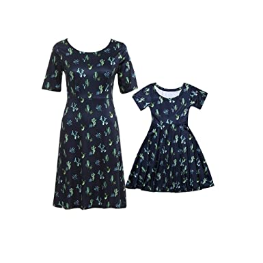 b089cda0c2ae1a SJIAO Mother and Daughter Matching Dresses, Mommy and Me Dresses, Cactus  Print Mom&Me Matching