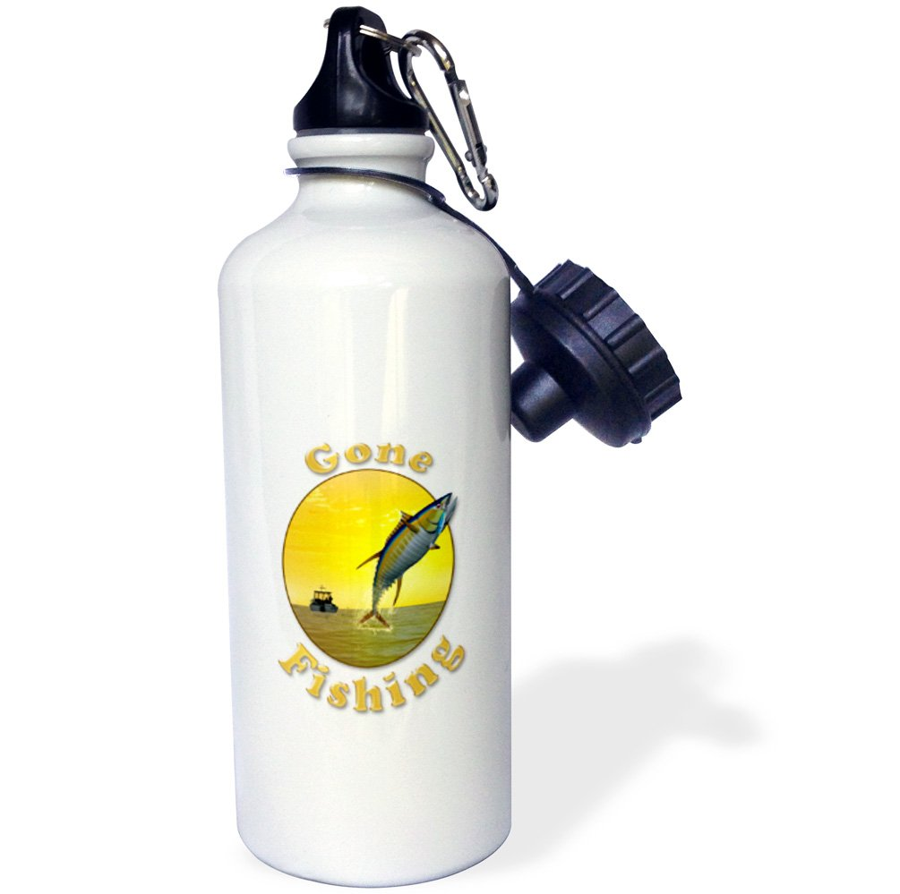 Multicolor 3dRose wb/_218920/_1 Gone Fishing Letters With Graphic With Fishing Boat And Tuna Sports Water Bottle 21 oz