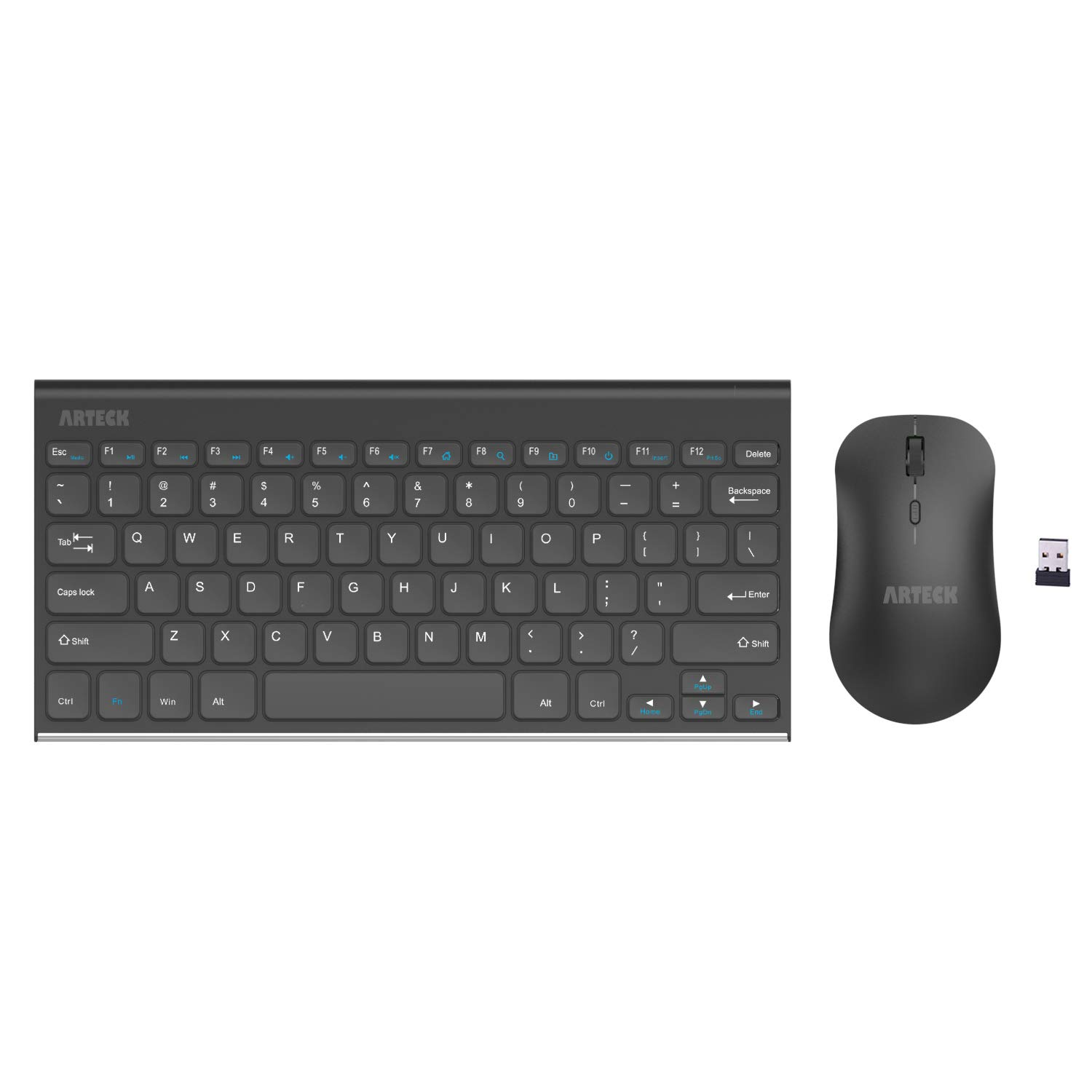 1c7e772bdec Arteck 2.4G Wireless Keyboard and Mice Combo Ultra Compact Slim Stainless  Full Size Keyboard and Ergonomic Mouse for Computer/Desktop/PC/Laptop and  Windows ...