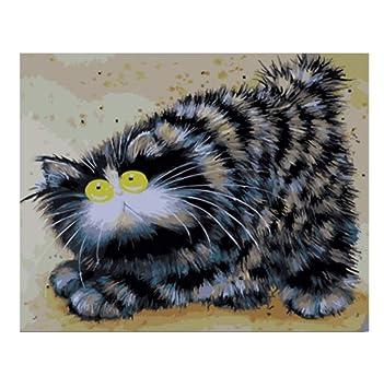 Cuadros de pintura por números de animal gato trabajo hecho a mano lienzo pintura al óleo decoración para el hogar sala de estar con enmarcado 40x50cm: ...