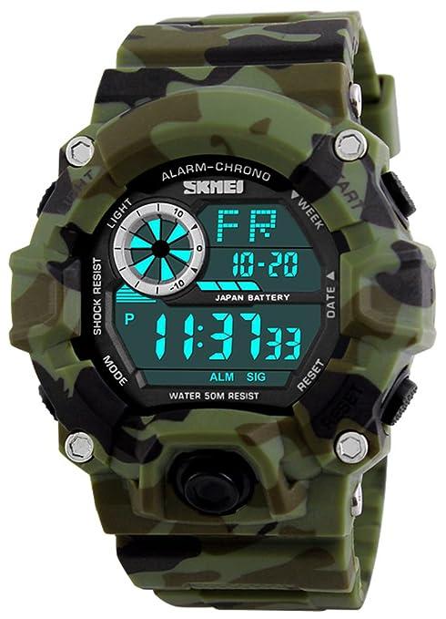 Skmei reloj Digital ejército Militar camuflaje impermeable LED multifunción Deporte Electrónico Reloj De Pulsera: Amazon.es: Relojes