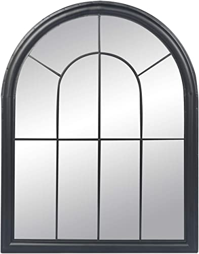 LAZZO Modern Arched Mirror, Antique Wall-Mounted Mirror, Window Pane Hanging Casual Classic Mirror with Rustic Black Iron Border for Porch, Kitchen, Bedroom, Hallway, Living Room, 27 x35