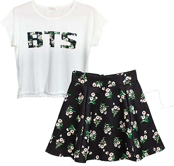 b95343e47 BTS Suga Jin Jimin Jung Kook Printed T-Shirt + Floral Skirt Two Piece Suit  at Amazon Women's Clothing store: