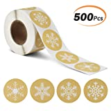 KATUMO Snowflakes Christmas Stickers, Holiday Stickers Envelope Stickers Classroom Decoration Decorative Presents Stickers 500Pcs Per Roll with 4 Different Designs