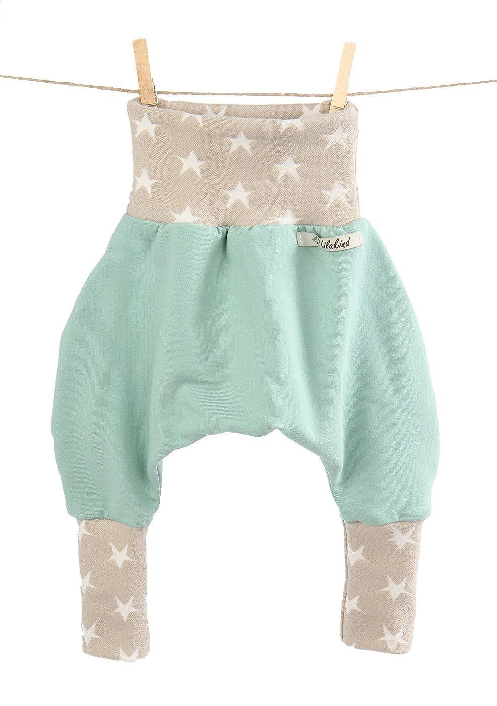 Pumphose Hose Babyhose Lilakind hochwertige Handarbeit Jersey Sweat Mint Sterne Sand MD-PH012_2mint_sternesand