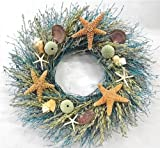 Walk On The Beach Summer Door Wreath Sea Shells Starfish for Coastal Cottage Kitchen Decor Use Indoors or Outdoors
