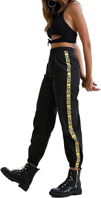 Tasty Life Monos De Mujer Pantalones Deportivos De Hip Hop Sueltos De Europa Y America Pantalones Deportivos De Cintura Elastica Pantalones Deportivos Para El Uso Diario Amazon Es Ropa Y Accesorios