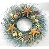 walk on the beach summer door wreath sea shells starfish for coastal cottage kitchen decor use indoors or outdoors - Decorative Wreaths