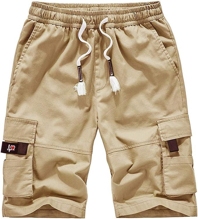 LINSINCH Bermudas Grande Taille Short Lin Homme Pantalons Ete Casual ExtéRieur Poche Travail Plage Baggy pour Hommes Sport Travail Camouflage Short De