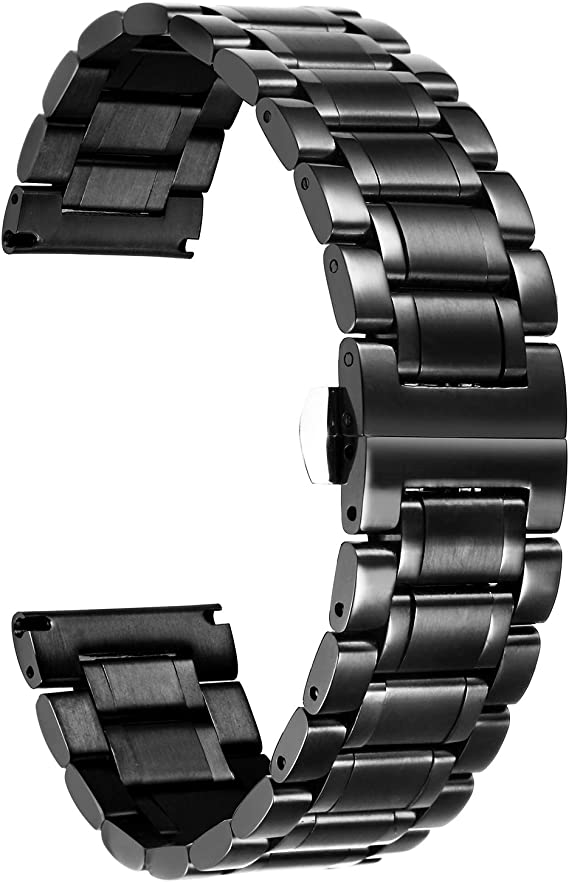 Curved Connectors Solid Stainless Steel Band Metal Link Strap Safe-Lock Buckle