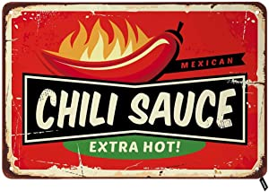 Swono Chili Sauce Tin Signs,Mexican Food Extra Hot on Red Background Vintage Metal Tin Sign for Men Women,Wall Decor for Bars,Restaurants,Cafes Pubs,12x8 Inch