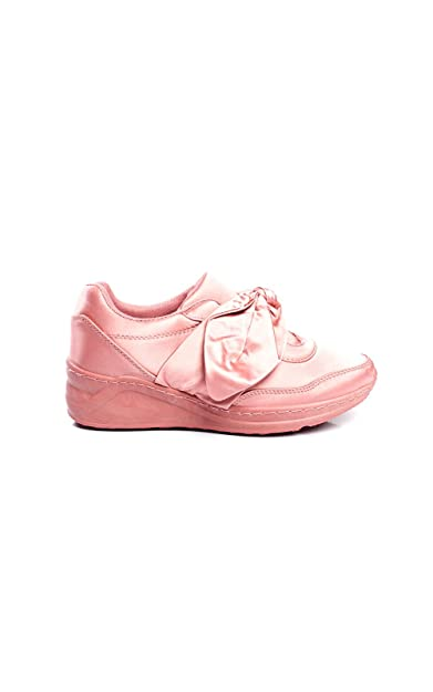 IKRUSH Women's Robyn Satin Bow Trainers Size  in PINK Size 4