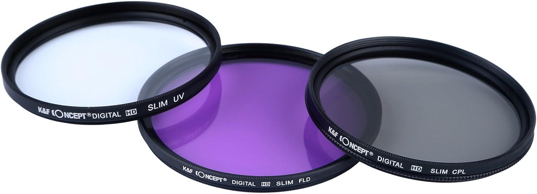 K/&F Objektiv Filter Set 67mm UV CPL FLD Filter 67mm Schutzfilter 67mm Polfilter 67mm mit Gegenlichtblende 67mm Objektivdeckel Mikrofasertuch Filtertasche f/ür Canon Nikon DSLR Kamera