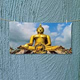 Nalahome Microfiber Towel The Biggest Golden Indian Statue at The Temple in Thai Oriental Sage Asian High Absorbency L27.5 x W11.8 inch