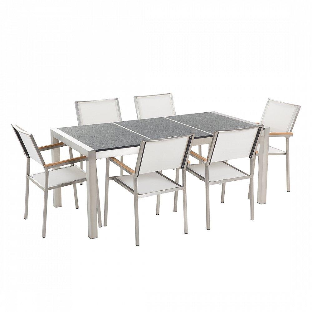 Gartenmöbel - Granitgartentisch 180 cm schwarz geflammt mit 6 weissen Stühlen - GROSSETO