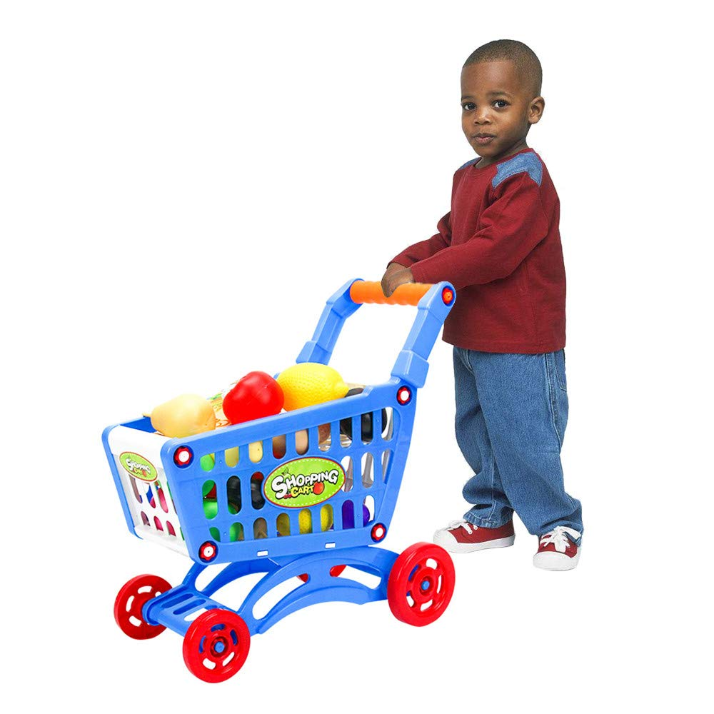 LANTOVI Shopping Carts Toy, Fruit Vegetable Pretend Play Food Playset Play Toy Grocery Cart Trolley Supermarket Pretend Playset Children Kid Educational (Blue) by LANTOVI