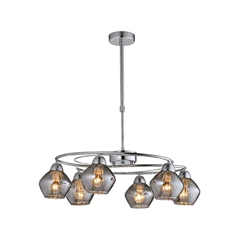 Lámpara cromo y cristal de 6 luces con tulipas de cristal ...