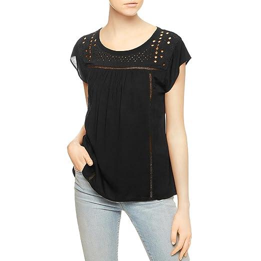 065c2d4e27ec1 Sanctuary Womens Paige Cut-Out Cap Sleeves Blouse Black XS at Amazon ...