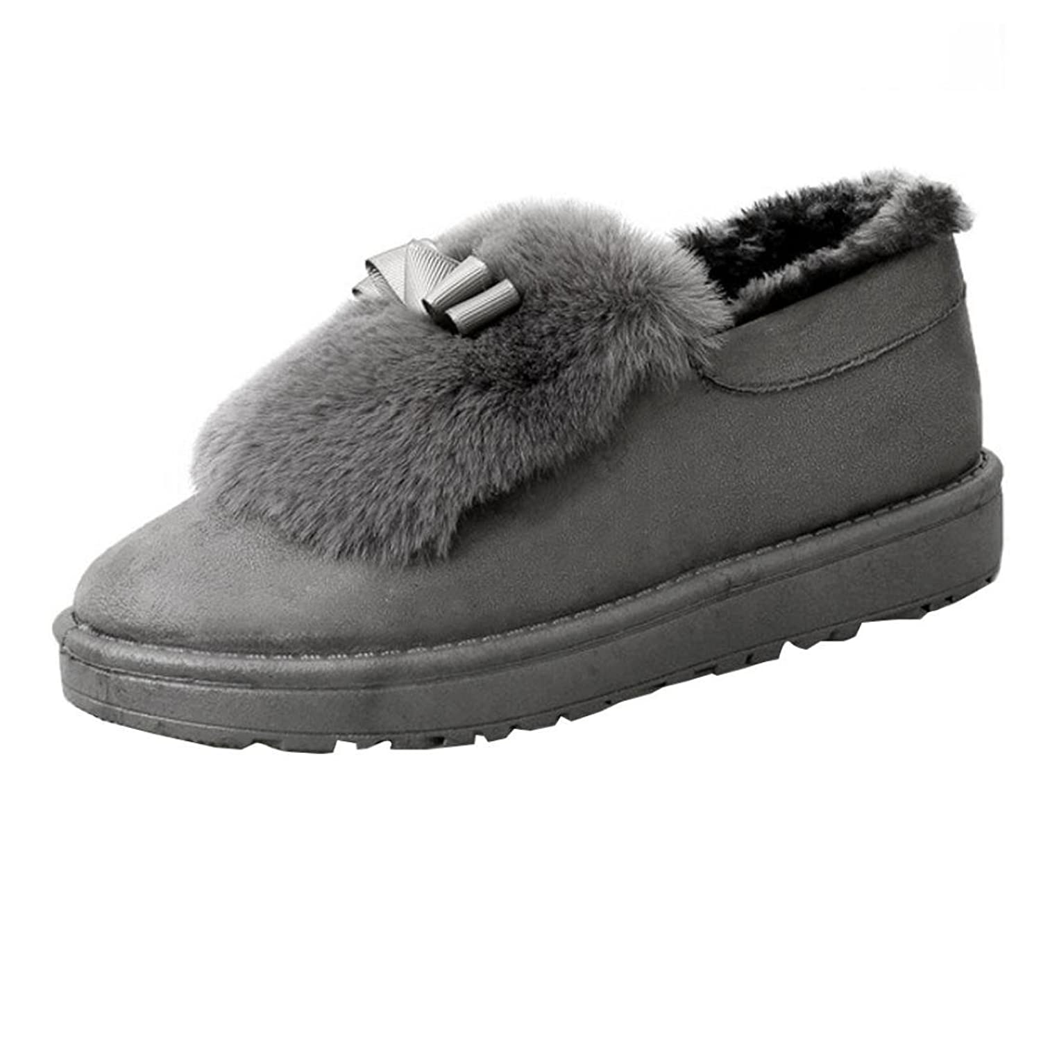 Fheaven Fashion Women Boots Flat Ankle Fur Lined Winter Warm Snow Shoes Lazy Shoes