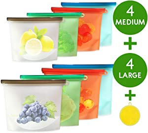 Silicone Reusable Food Bags, 9 Pack Reusable Food Storage Bags, for Dishwasher Safe, Food Grade Preservation Bag, for Vegetable, Liquid, Snack, Meat, Sandwich(4 Medium + 4 Large + 1 Gift)