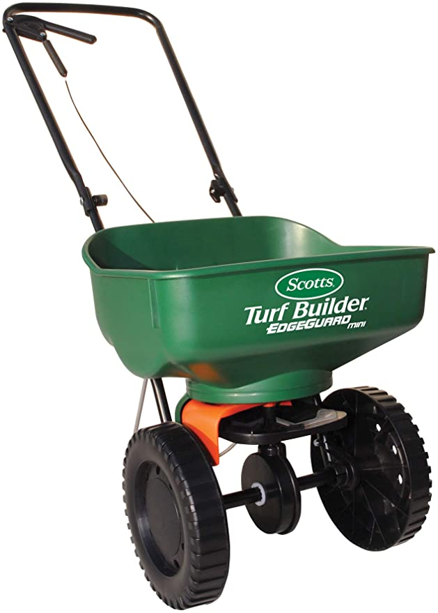 Amazon.com : Scotts Turf Builder EdgeGuard Mini Broadcast Spreader - Spreads Grass Seed, Fertilizer and Salt - Holds up to 5, 000 sq. ft. of Scotts Grass Seed or Fertilizer Products : Lawn And Garden Spreaders : Garden & Outdoor