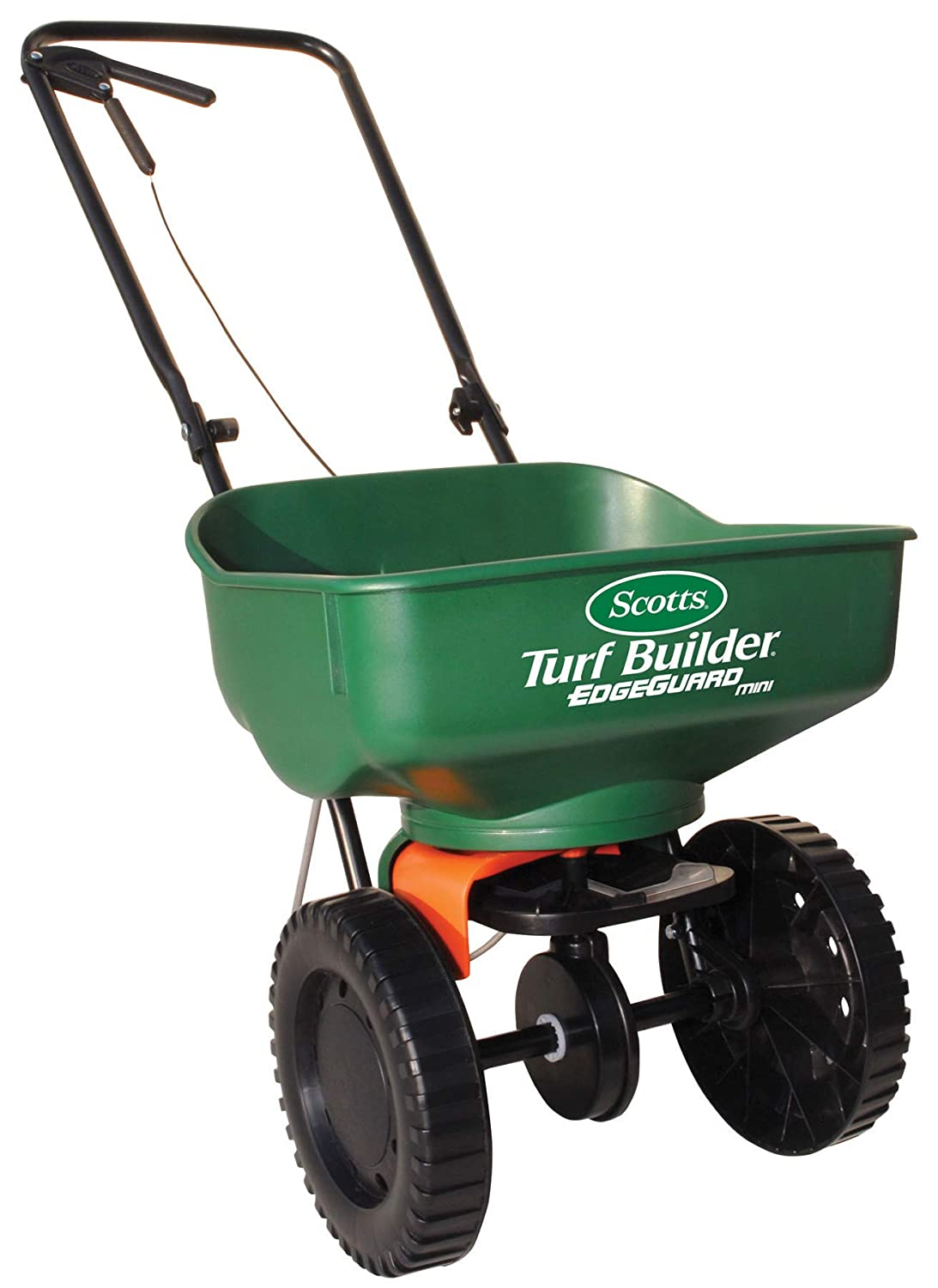 Scotts Turf Builder EdgeGuard Mini Broadcast Spreader – Spreads Grass Seed, Fertilizer and Ice Melt – Holds up to 5,000 sq. ft. of Scotts Grass Seed or Fertilizer Products