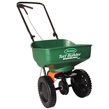 Turf Builder EdgeGuard Mini Broadcast Spreader | Spreads Grass Seed, Fertilizer and Ice Melt | Use in Spring, Summer, Fall and Winter | Holds up to 5,000 sq. ft. of Scotts Grass Seed
