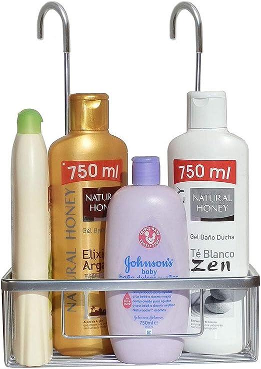 Pack Ahorro 2 Portagel cesta de ducha y bañera GAR rectangular sin taladros ni adhesivos, de aluminio acabado en cromo brillo. Sujección ganchos con ...