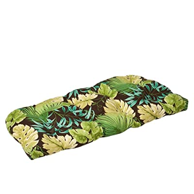 Pillow Perfect Indoor/Outdoor Green/Brown Tropical Wicker Loveseat Cushion: Home & Kitchen