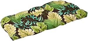 Pillow Perfect Indoor/Outdoor Green/Brown Tropical Wicker Loveseat Cushion