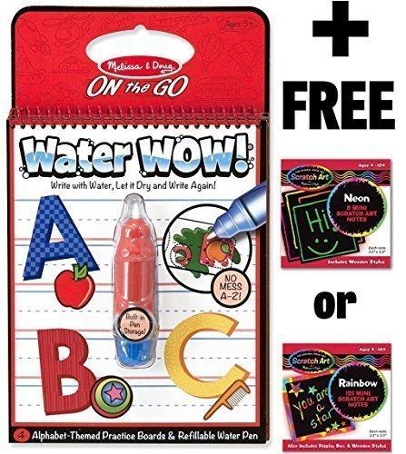 Alphabet: Water Wow Activity Book + FREE Melissa & Doug Scratch Art Mini-Pad Bundle Abc Art Puzzle