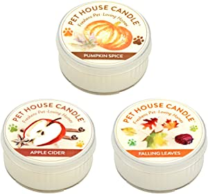 One Fur All Pet House Mini Candle Set, Pack of 3 - Fall Mix - Pet Odor Eliminator Candle, Burn Time - 10-12 Hours Pet Candle, Non-Toxic, Ideal for Smaller Spaces